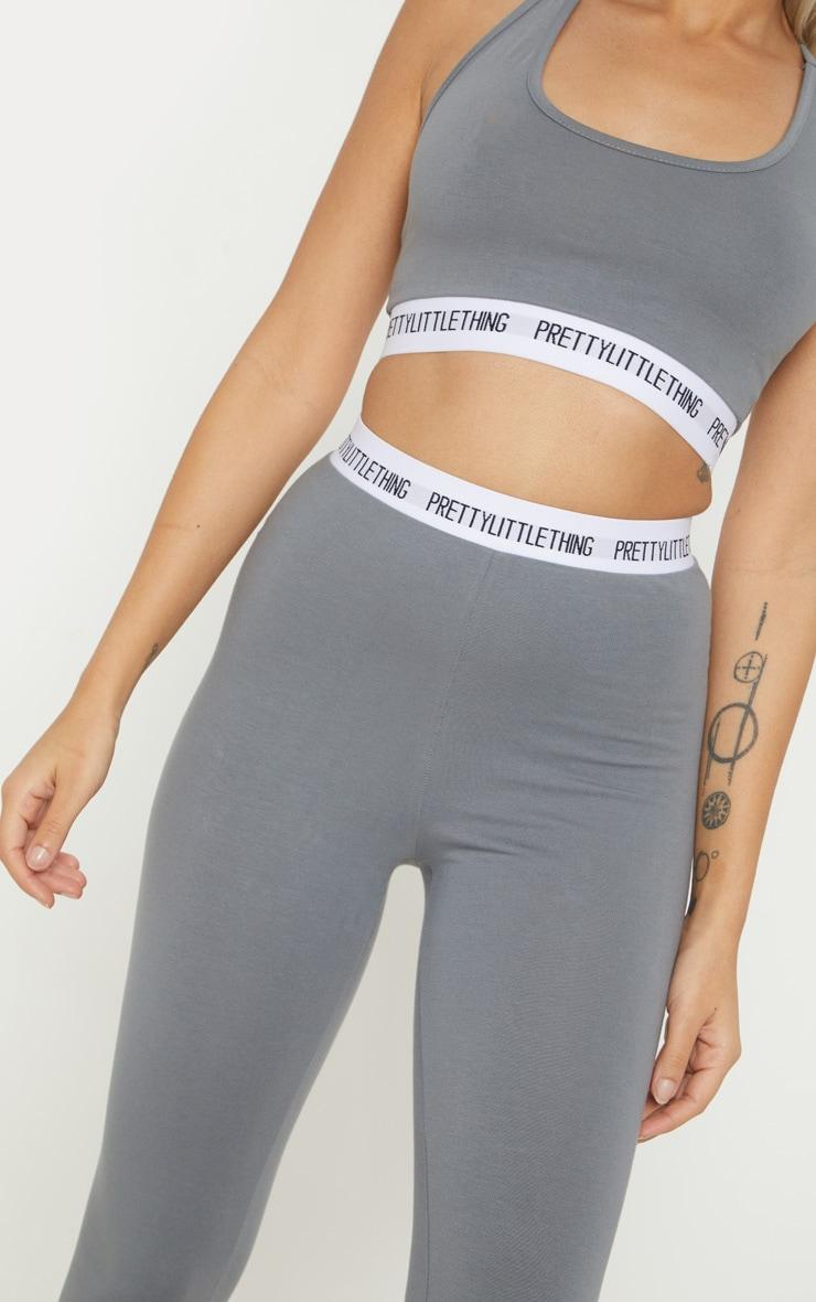 PRETTYLITTLETHING Petite Grey Slogan Waistband Leggings  5