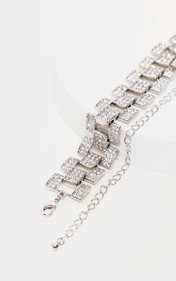 Ras-de-cou effet bracelet de montre argenté à strass 4