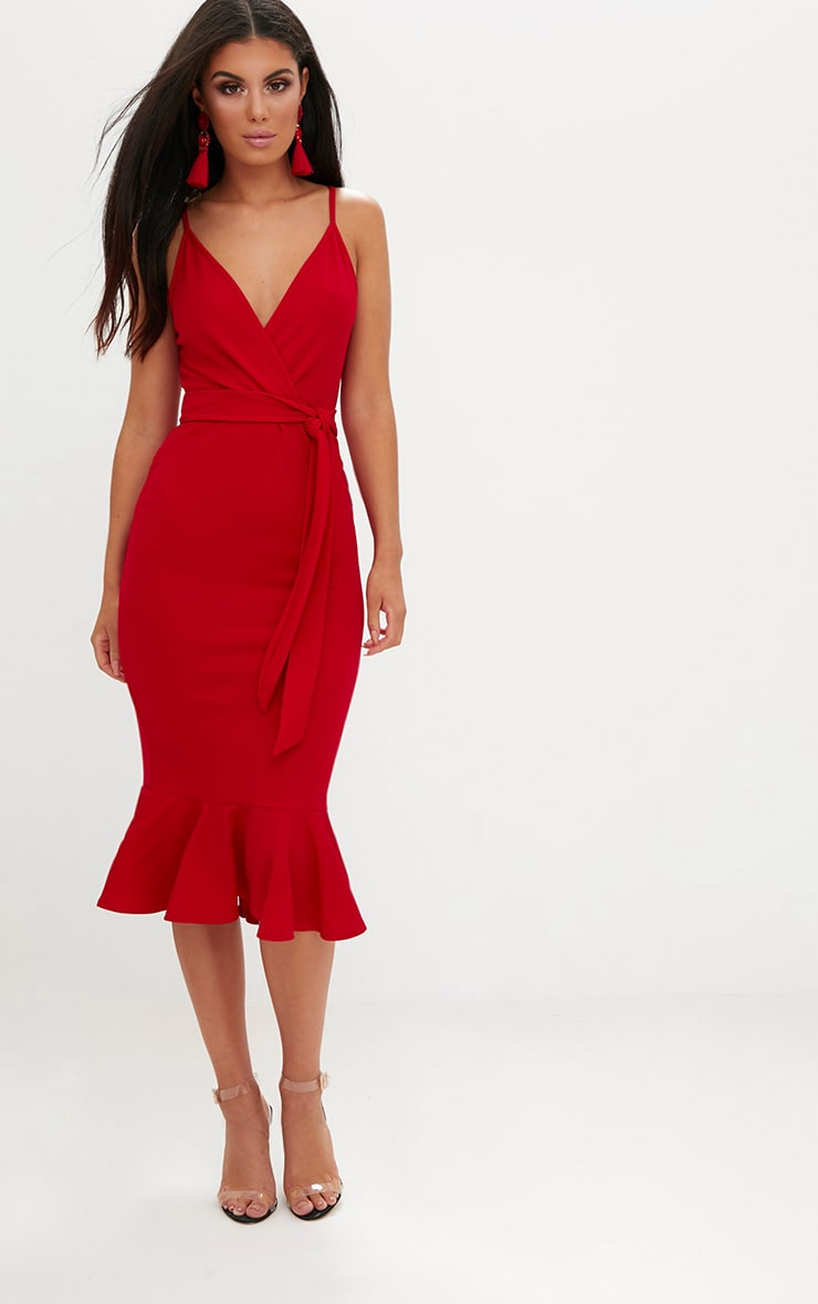 Red Strappy Tie Waist Fishtail Midi Dress 4