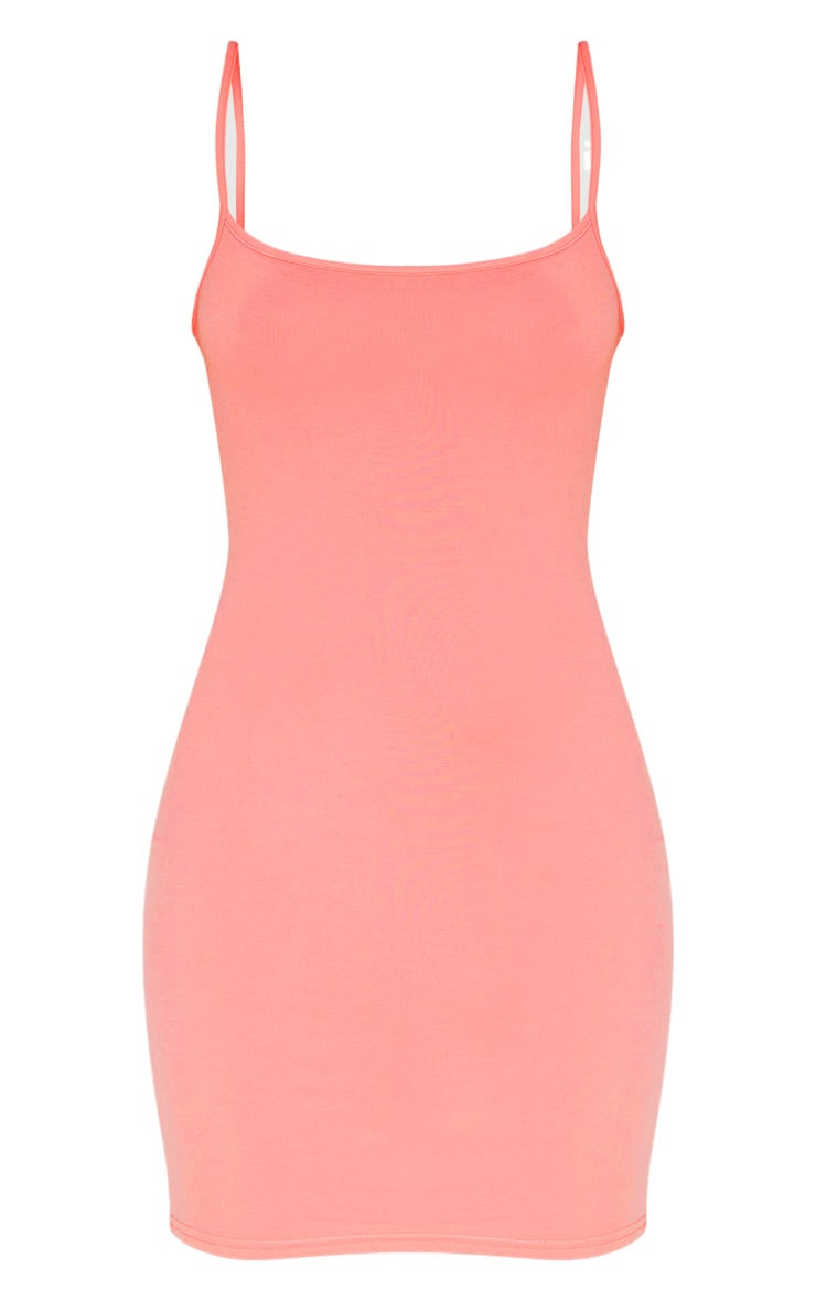 Peach Square Neck Strappy Split Bodycon Dress 3