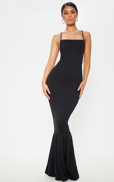 ac5c428fa6f Black Strappy Back Maxi Dress