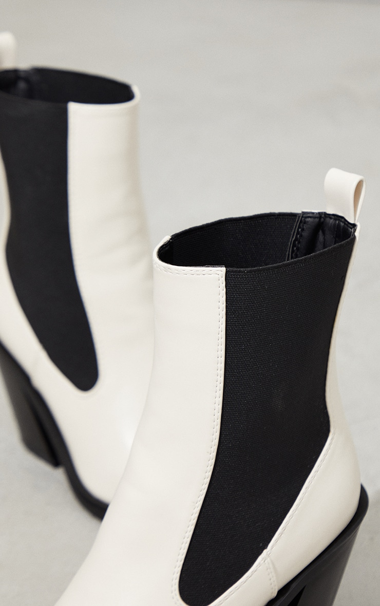 Cream PU Square Toe Western Ankle Boots 4