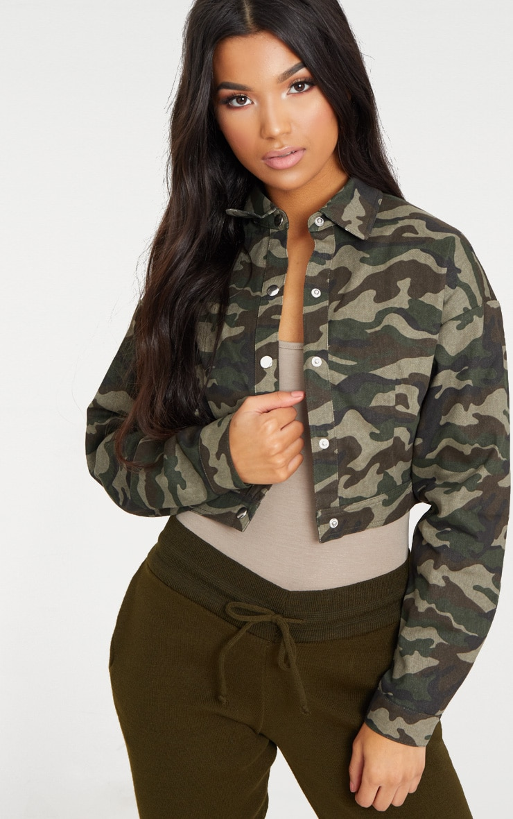Green Cropped Camo Trucker Jacket 4