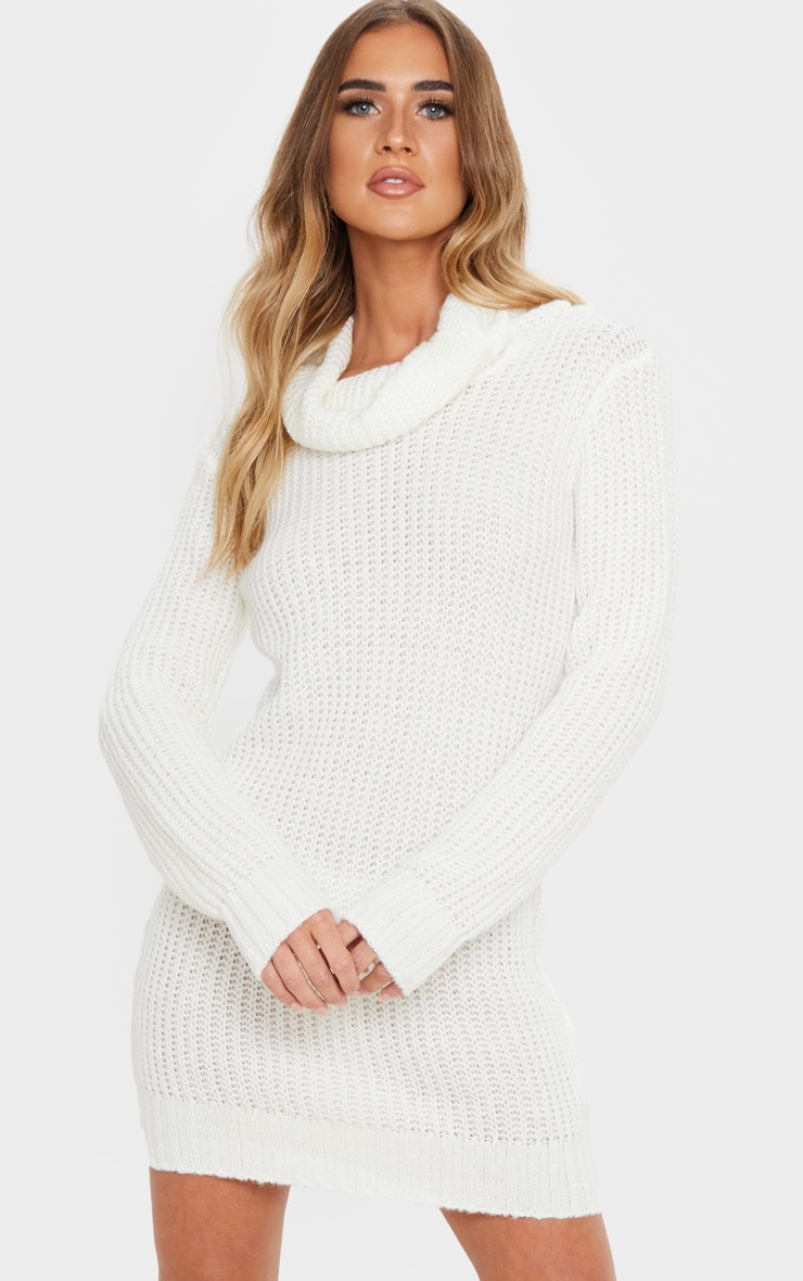 Ivory Roll Neck Fluffy Fisherman Jumper Dress 1