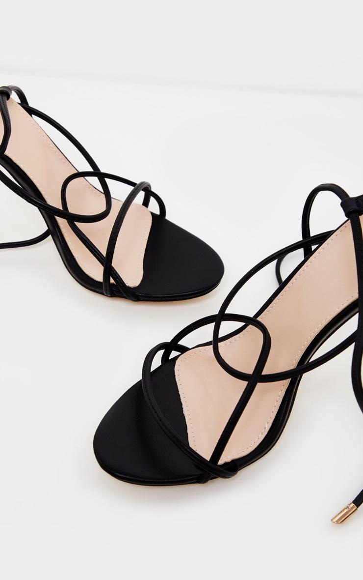 Black Strappy Tie Sandal 4