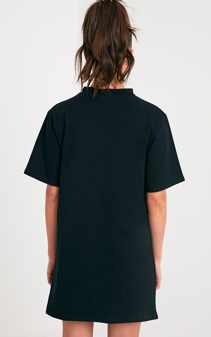 Eagles Slogan Black Extreme Plunge T Shirt Dress 2
