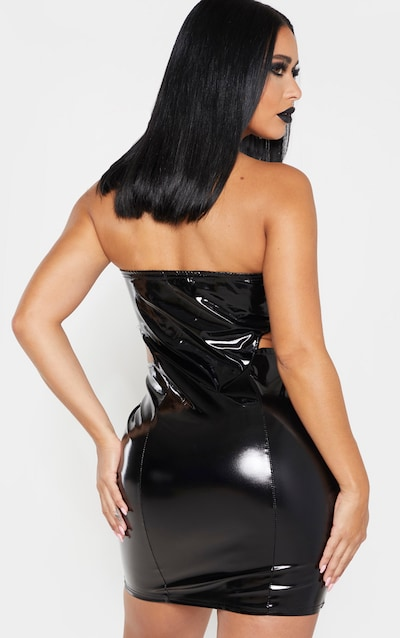 Shape Black Vinyl Cut Out Side Bodycon Dress