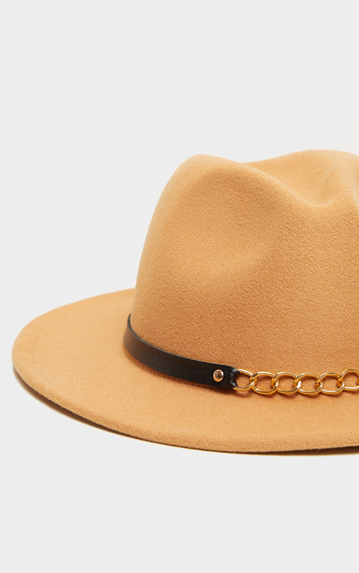 Tan With Gold Chain Fedora 3