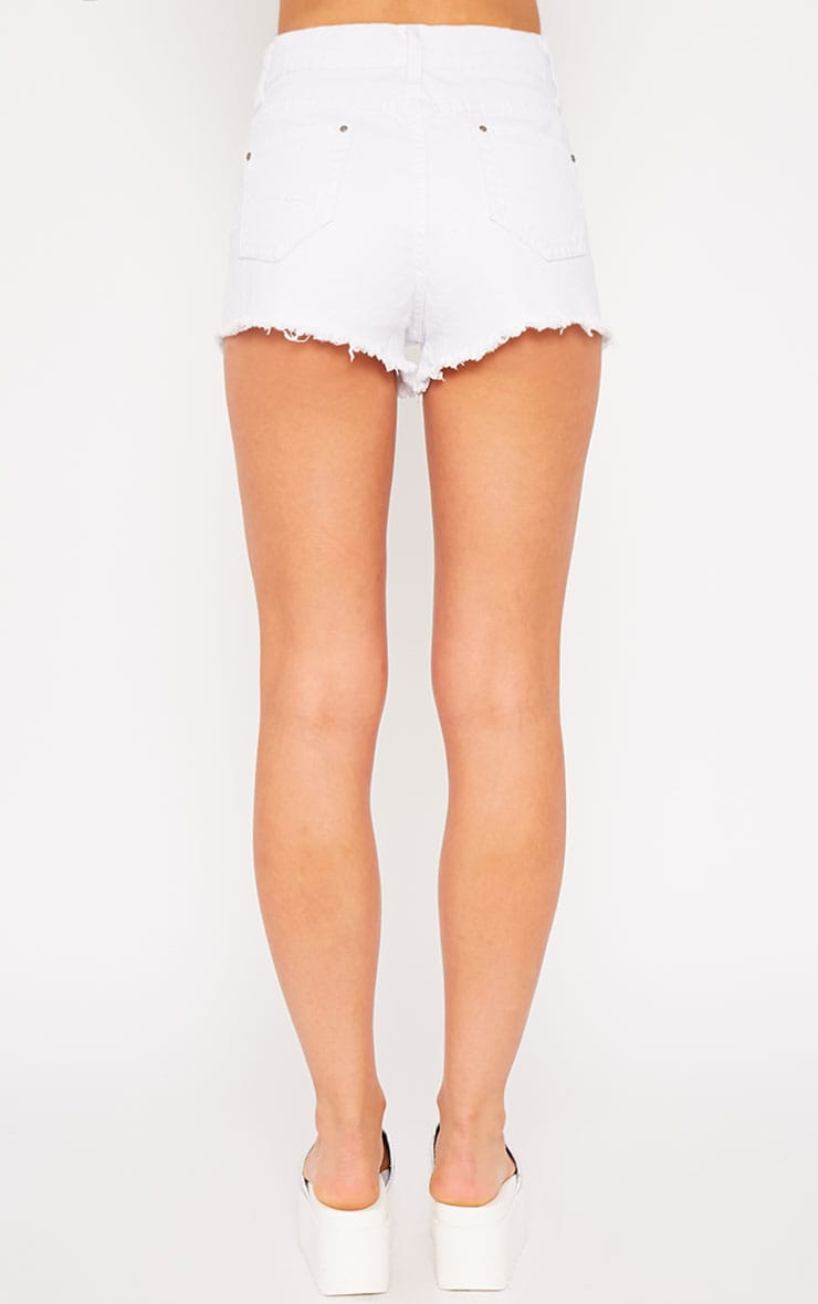 Sidney White Ripped Denim Hotpants 2