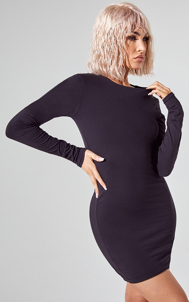 Essential Black Cotton Blend Long Sleeve Bodycon Dress 1