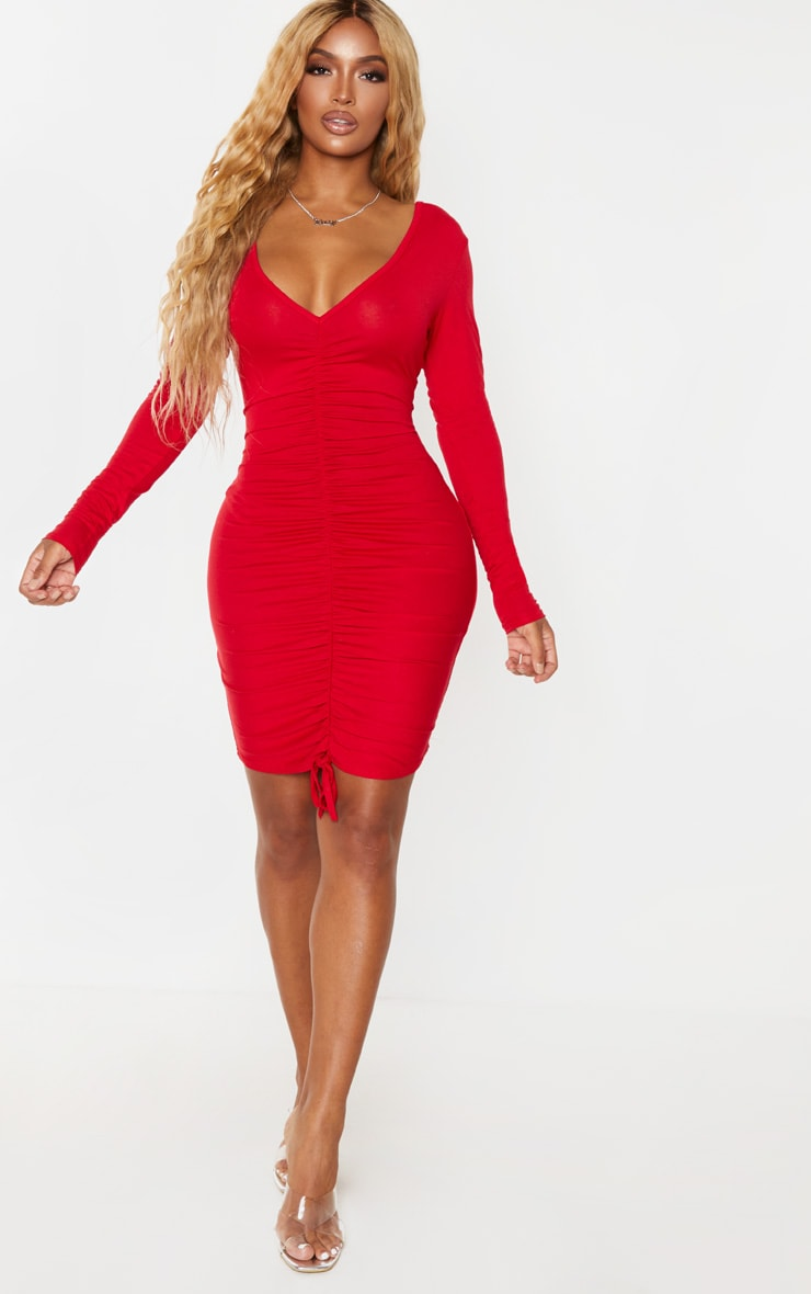 Shape Red Jersey Ruched Front Long Sleeve Dress 3