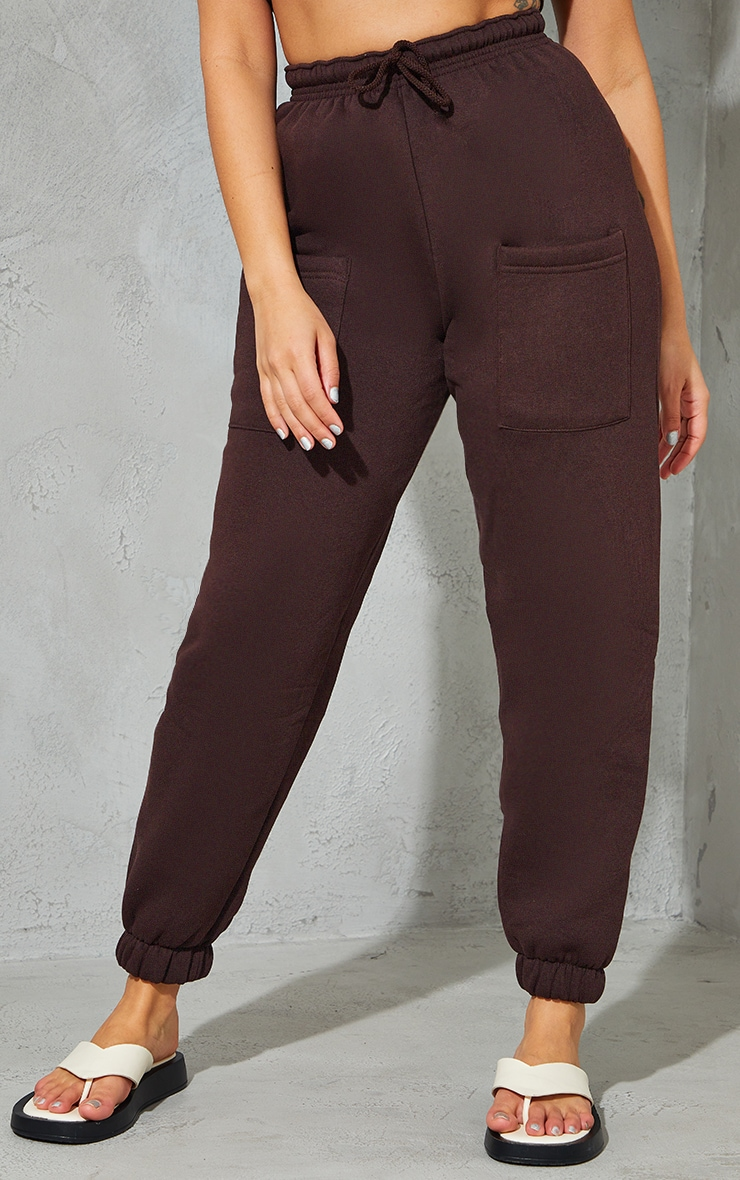 Petite Chocolate Brown Pocket Thigh Casual Joggers 2