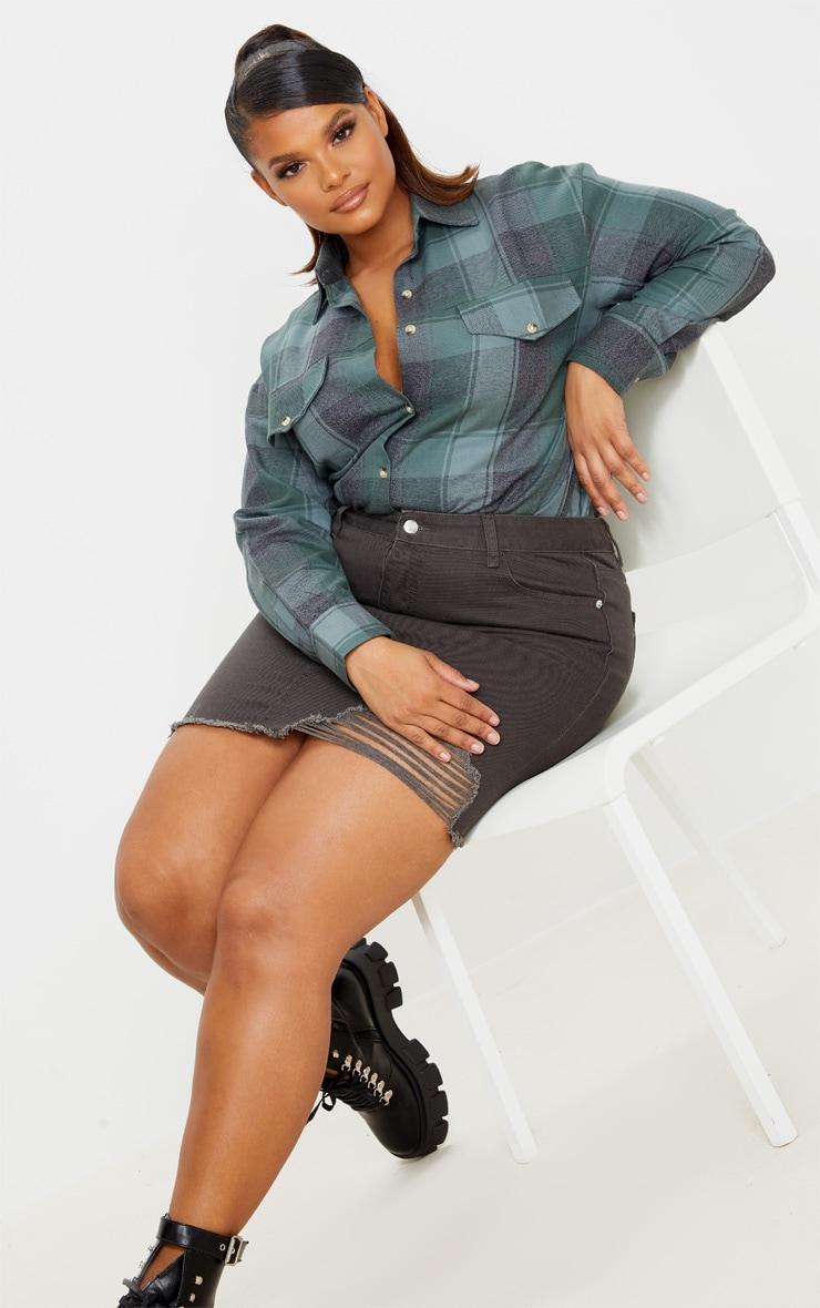 Plus Charcoal One Sided Distressed Hem Denim Skirt 1