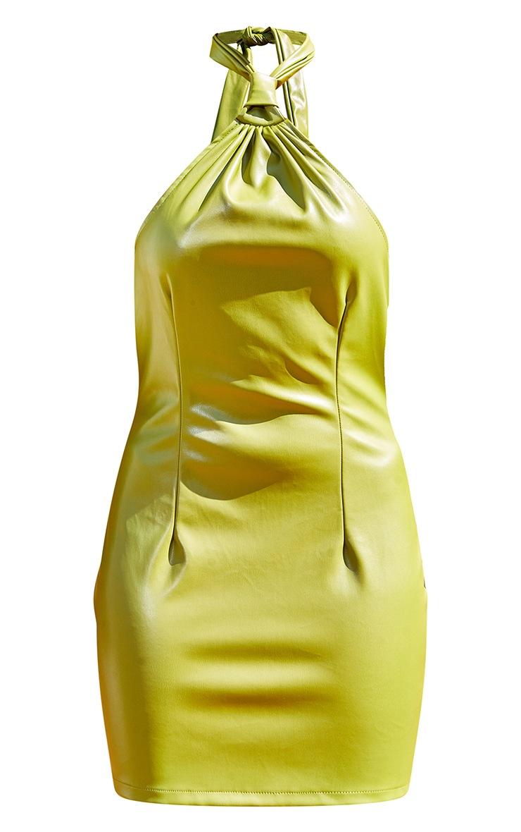 Olive Pu Halterneck Knotted Bodycon Dress 5