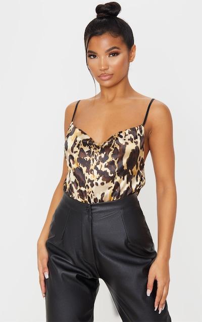 Leopard Tan Satin Cowl Neck Cami