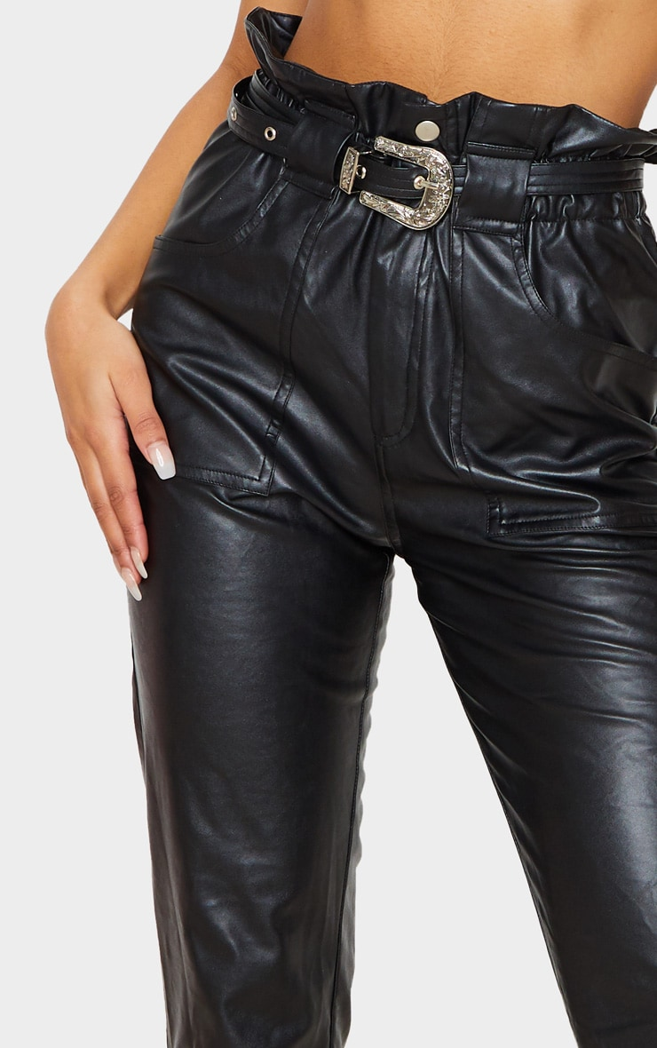 Black Western Belted Faux PU Trousers 6