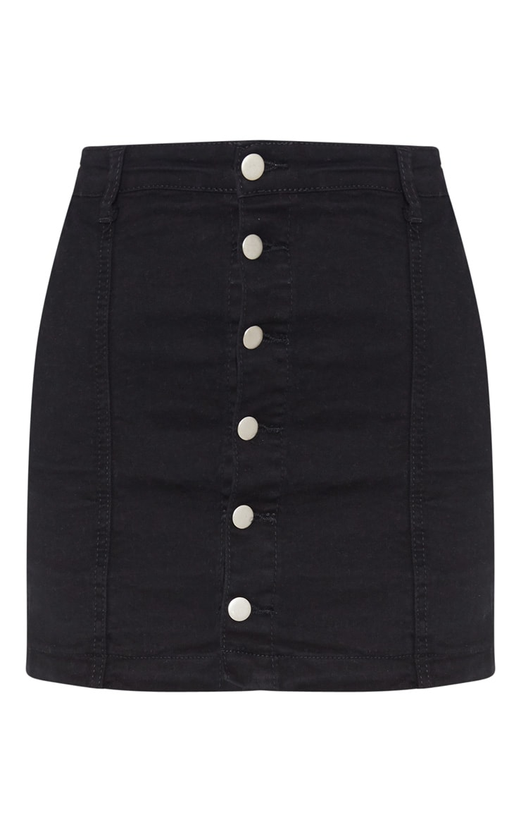 Cammie Black Denim Mini Skirt 3