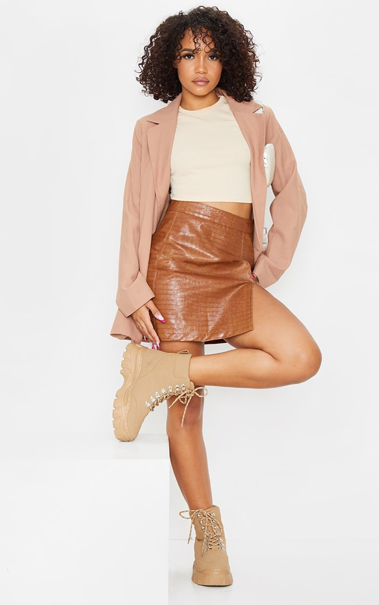 Tan Croc Vinyl Seam Detail Mini Skirt 4