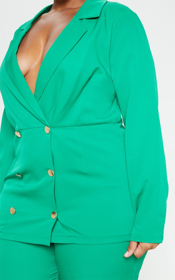 Plus Bright Green Gold Button Fitted Blazer  3