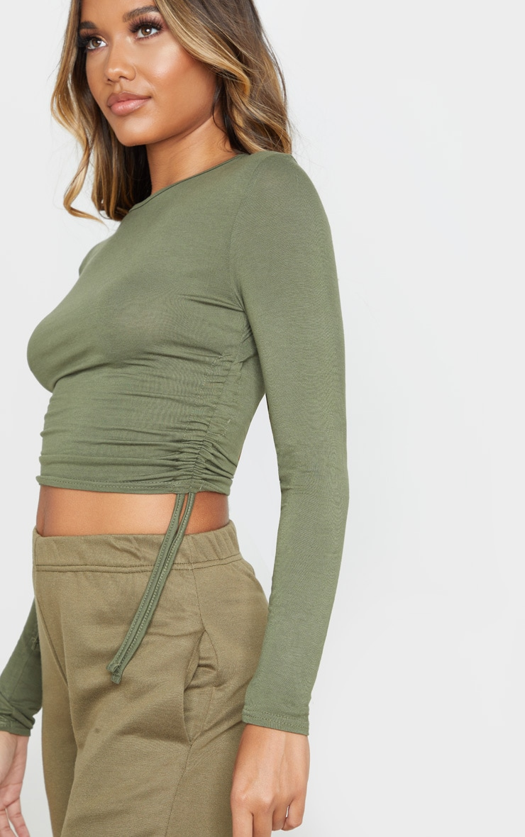 Sage Khaki Jersey Ruched Side Long Sleeve Top 5