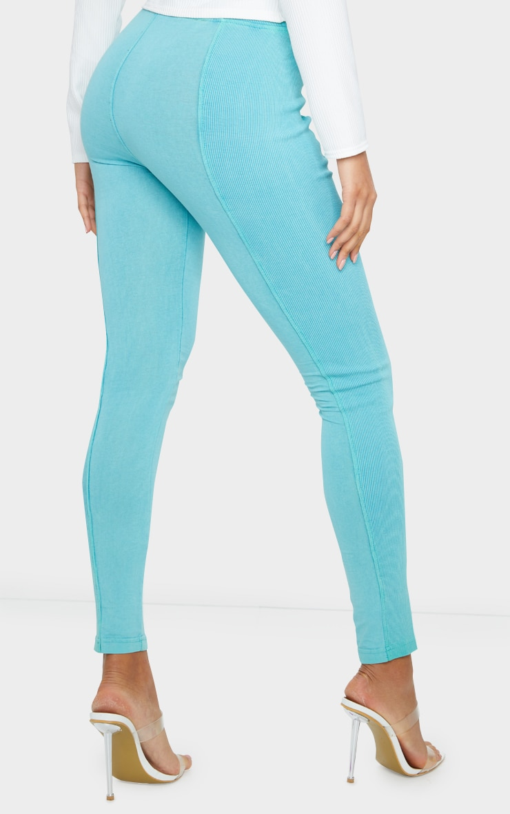 Teal Acid Wash Contrast Panel Rib Leggings 3