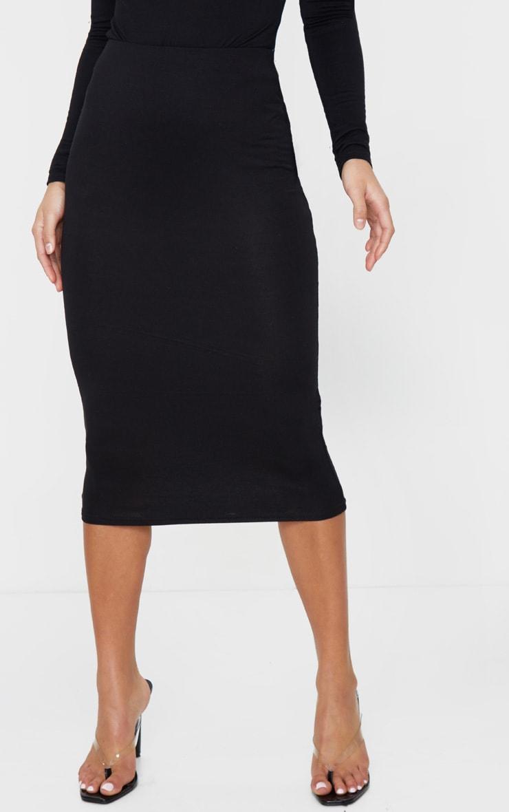 Petite Black Jersey Midi Skirt 2