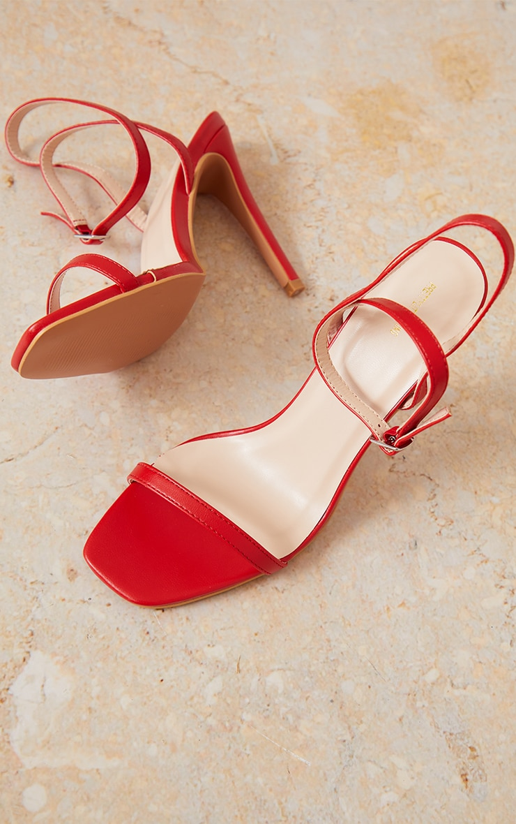Red PU Square Toe Barely There Strappy High Heels 4