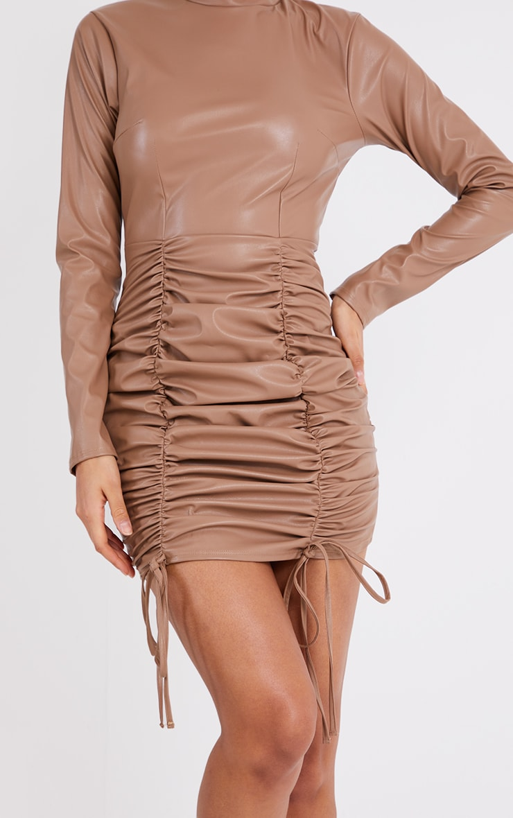 Stone PU High Neck Long Sleeve Ruched Skirt Bodycon Dress 4