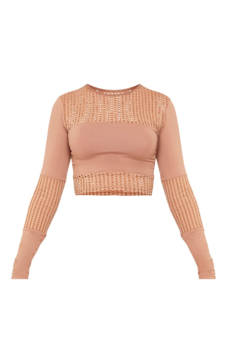 Wanita Camel Fishnet Panel Long Sleeve Crop Top 3