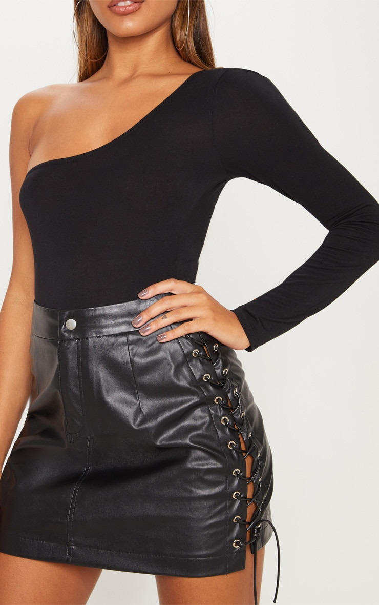 Black Faux Leather Lace Up Mini Skirt 6