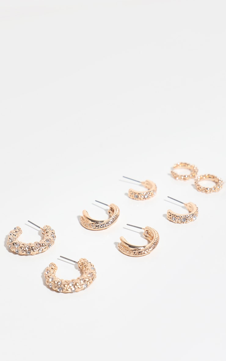 Gold Textured Mixed Mini Hoop 4 Pack 3