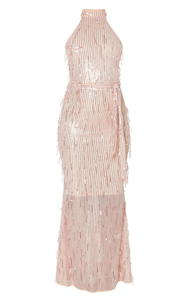Rose Gold Tassel Sequin High Neck Maxi Dress 3