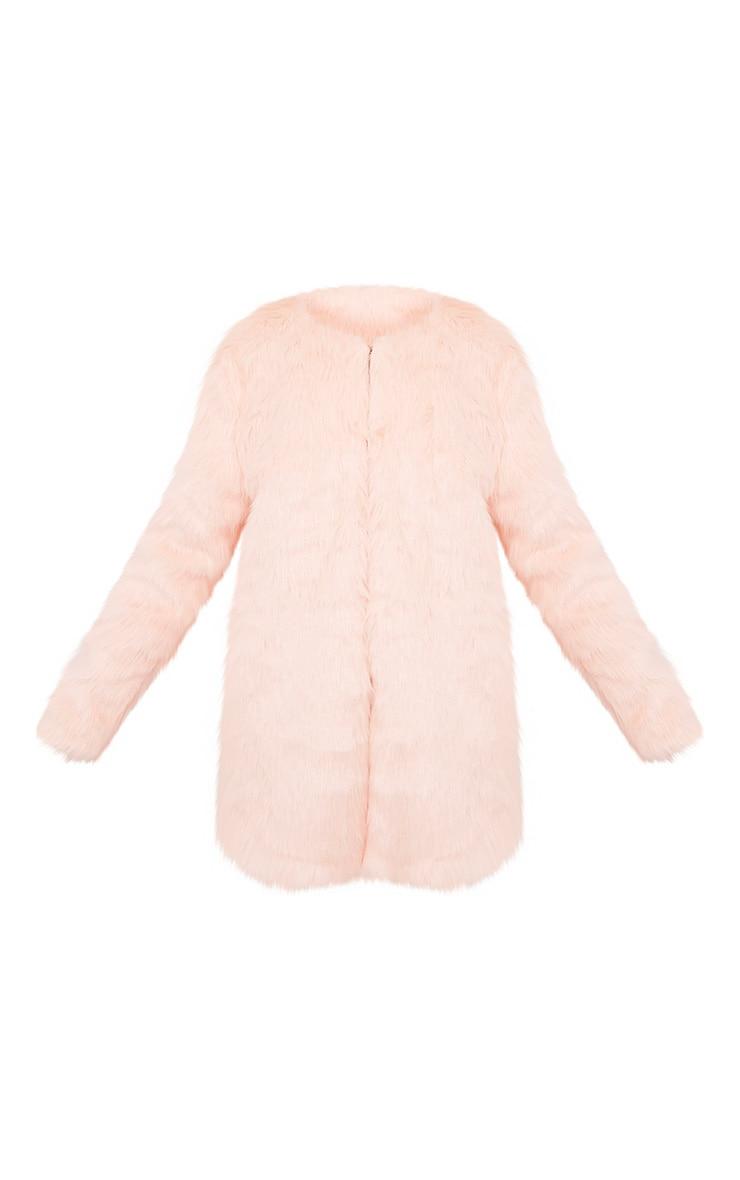 Florencia Baby Pink Faux Fur Coat 3