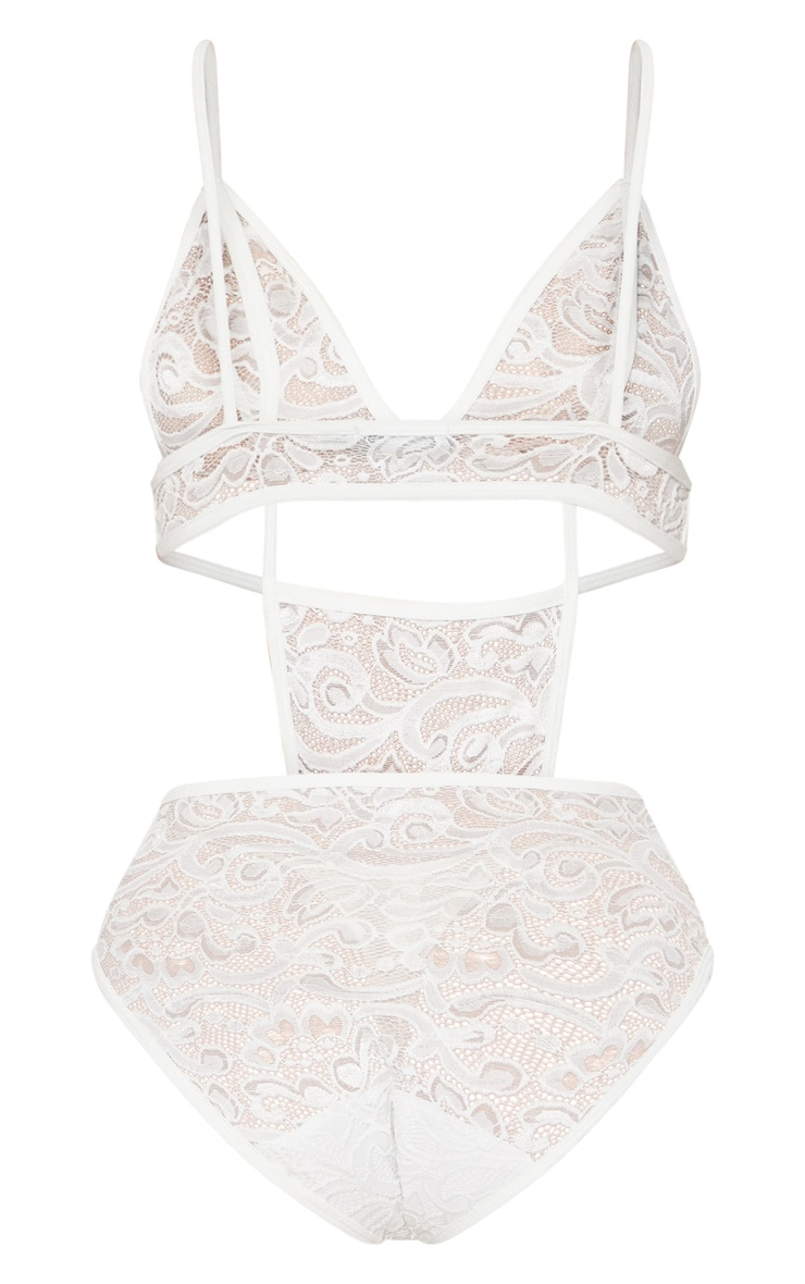 White Cut Out Cup Lace Body  2