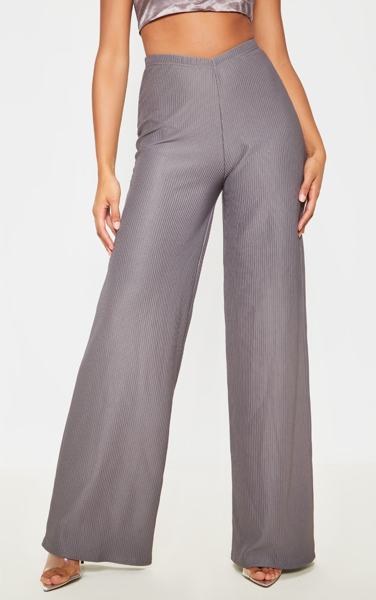 Charcoal Pleated Detail Wide Leg Pants 2