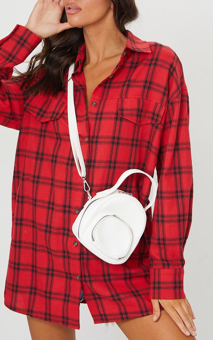 White PU Multi Pocket Cross Body Bag 1