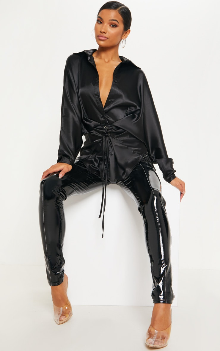 Black Corset Detail Satin Shirt 4