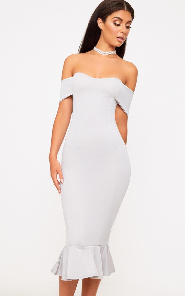 Ice Grey Bardot Frill Hem Midi Dress 1