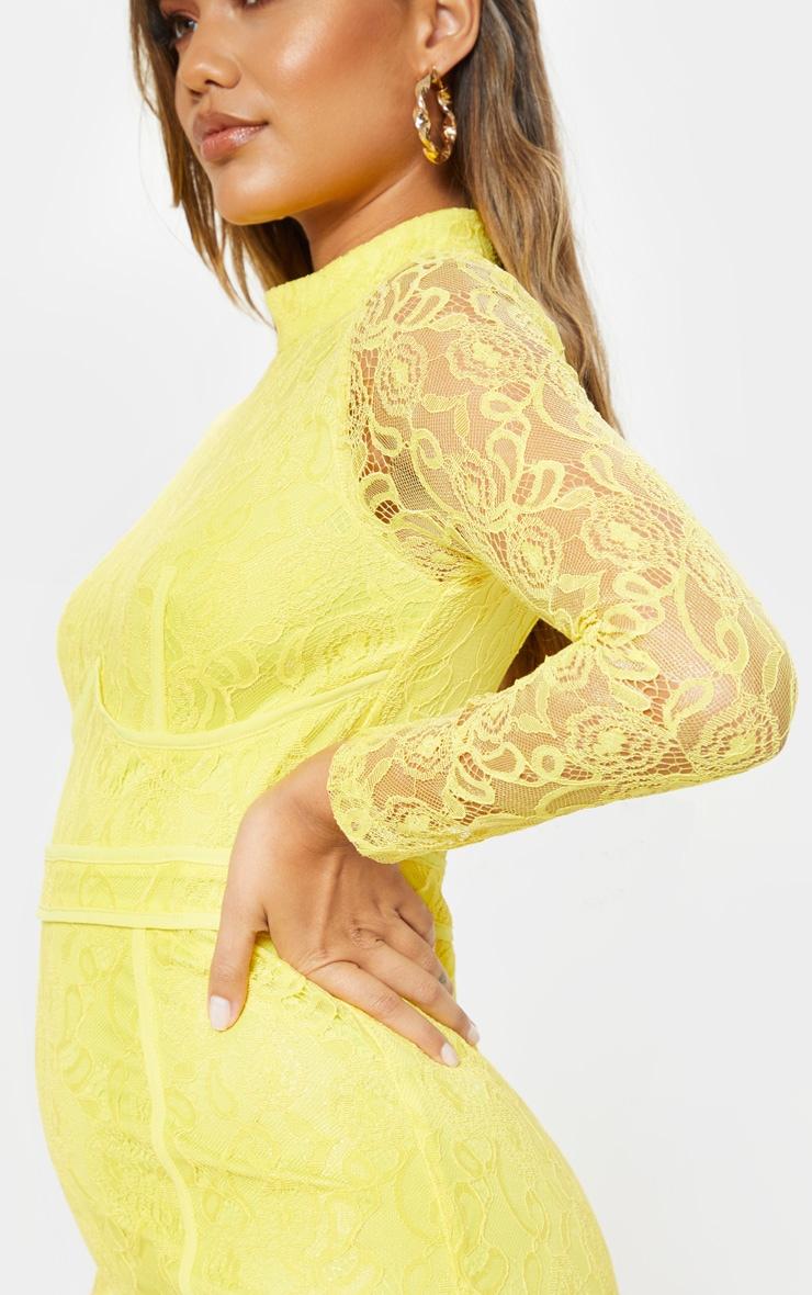 Bright Yellow Lace Binding Detail High Neck Midi Dress 5