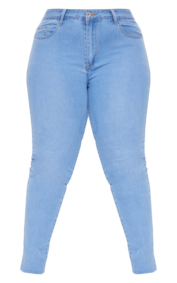 Plus Light Wash Disco Skinny Jeans 3
