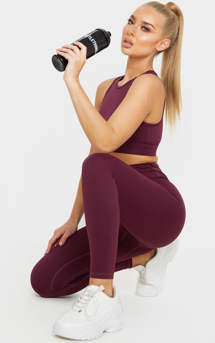 Berry Sculpt Luxe Racer Neck Sports Crop Top 4