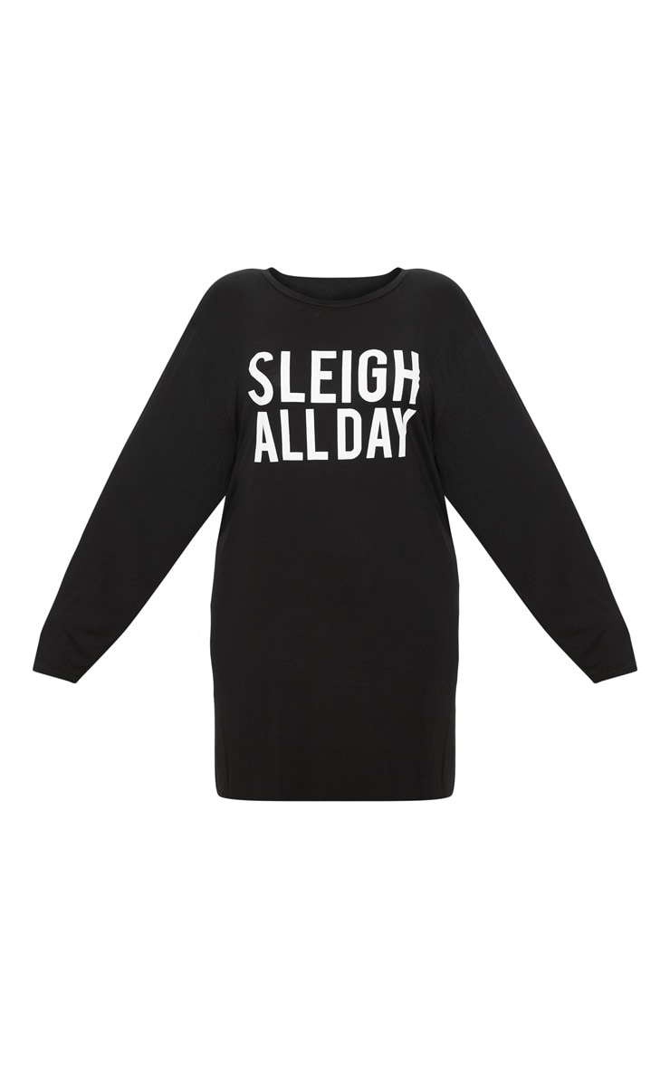 Plus Black 'Sleigh All Day' T Shirt Nightie 3