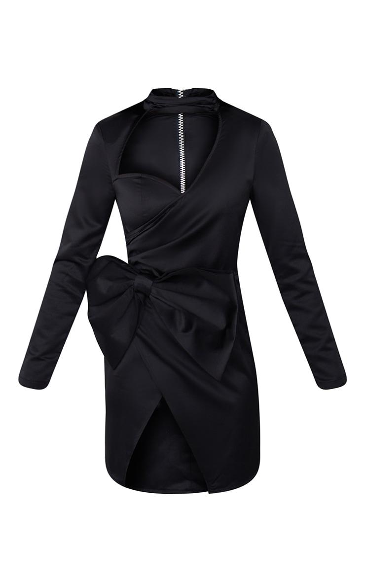 Black Cut Out Bow Detail High Neck Bodycon Dress 5