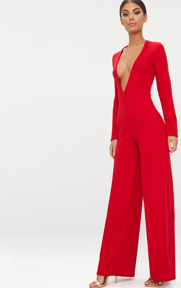 Red Crepe Long Sleeve Plunge Jumpsuit  4