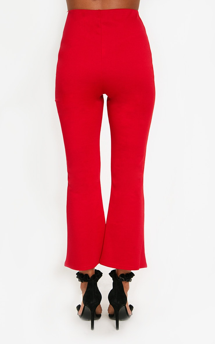 Red Kick Flare Cropped Trousers 4