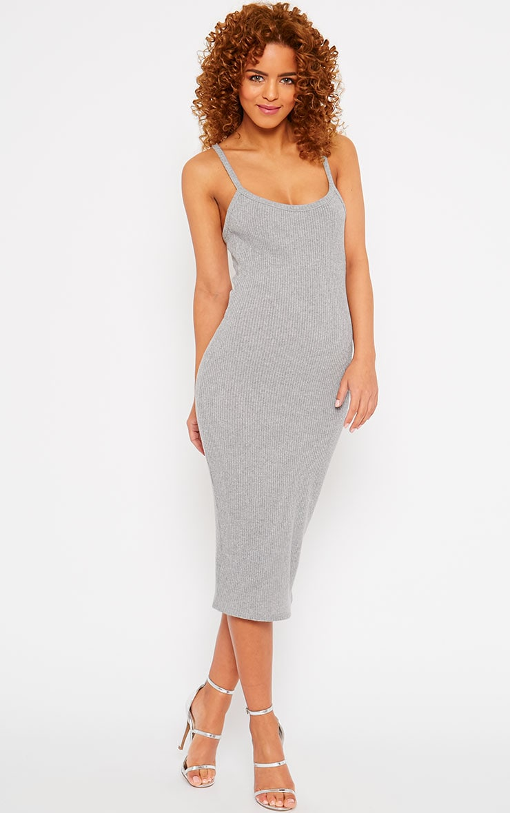 Tasmine Grey Ribbed Midi Dress 1