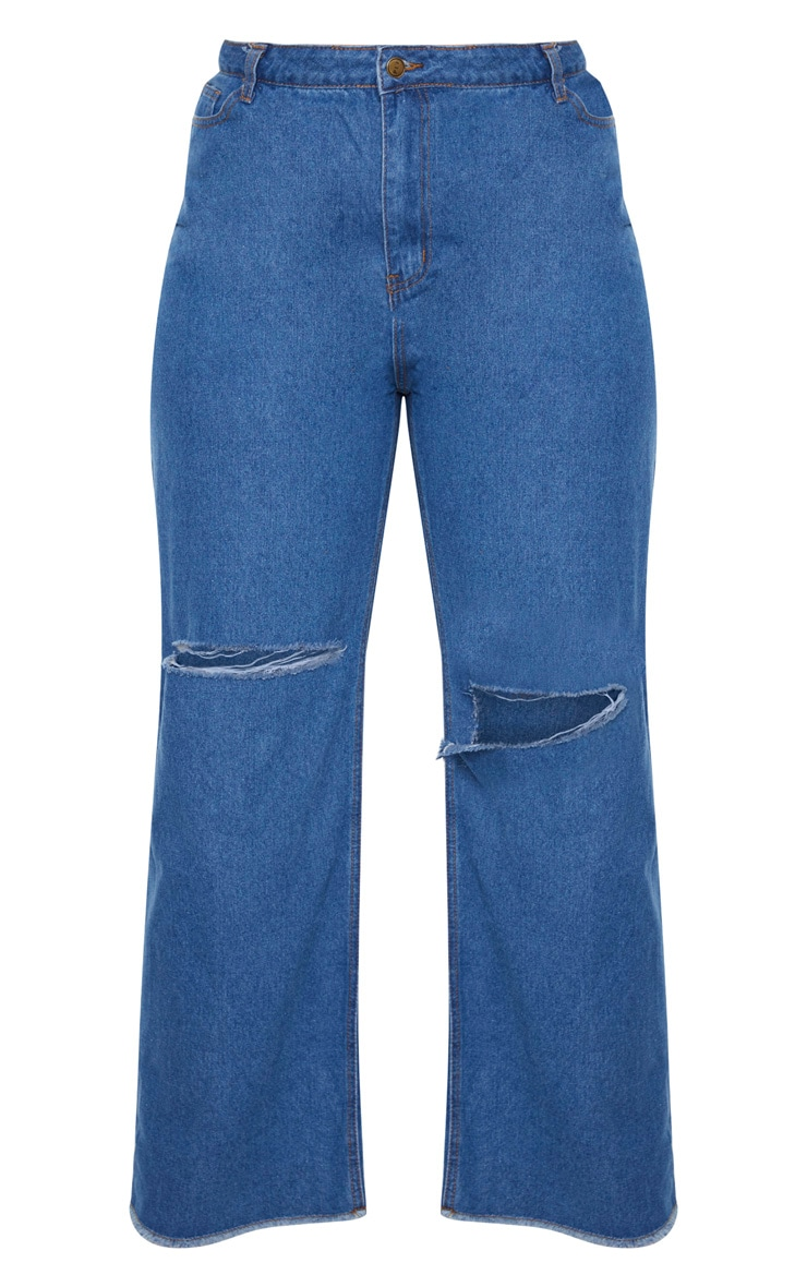 Plus Mid Wash Wide Leg Knee Rip Jean 3