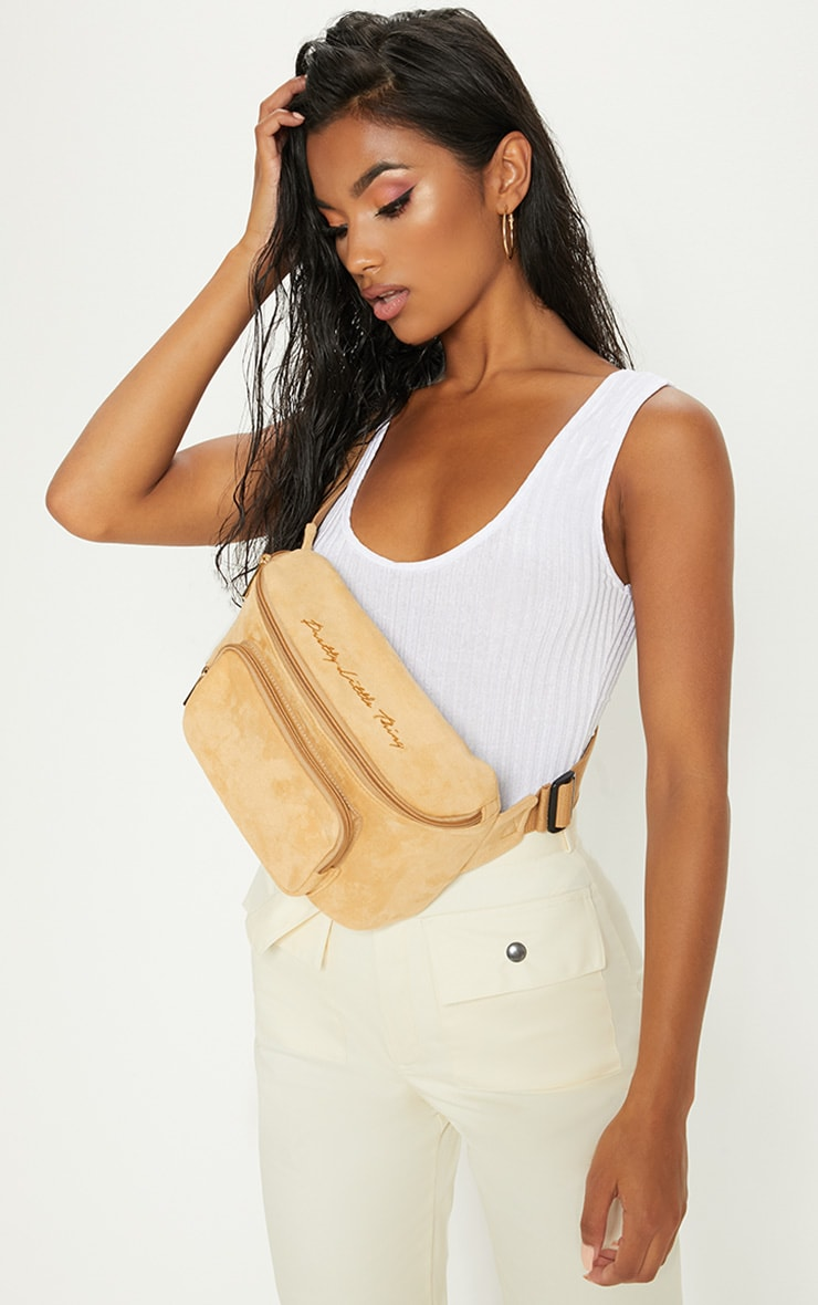 PRETTYLITTLETHING Beige Embroidered Faux Suede Bum Bag 1