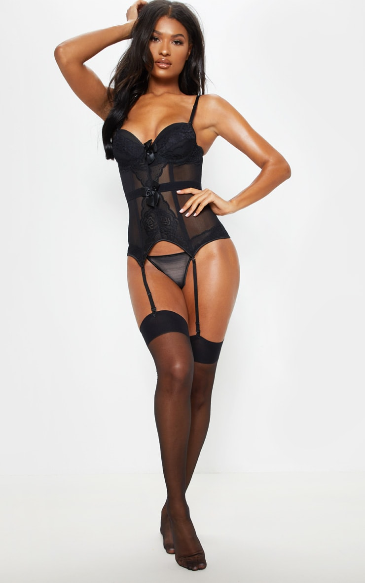 Black Cupped Suspender Corset And Panties Set 4