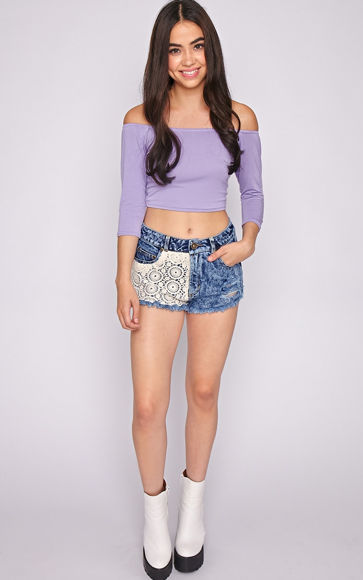 Joy Lilac Bardot Crop Top  5